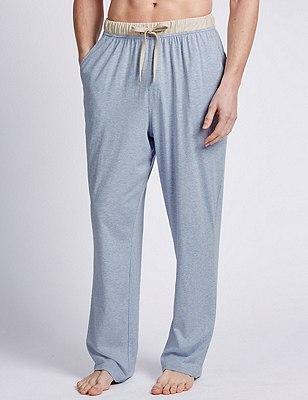 2 Pack Pure Cotton Long Pyjama Bottoms, BLUE MIX, catlanding
