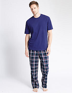 2in Longer Pure Cotton Checked Pyjamas, PURPLE MIX, catlanding