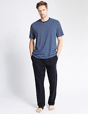 Pure Cotton Tonal Nautical Striped T-Shirt & Trousers Set, NAVY MIX, catlanding