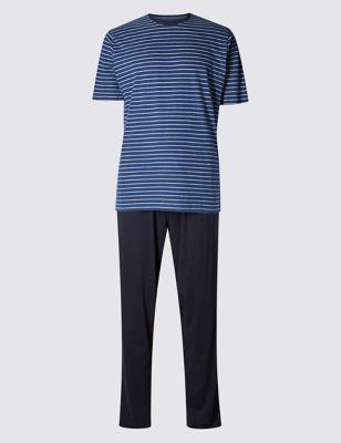 Пижама из чистого хлопка: футболка в морскую полоску и однотонные брюки M&S Collection T073052