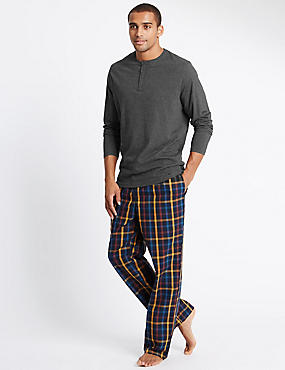 Pure Cotton Checked Pyjamas with StaySoft™, GREY MIX, catlanding