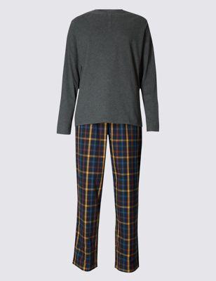 Пижамный комплект StaySoft™: футболка с длинным рукавом и брюки в клетку
