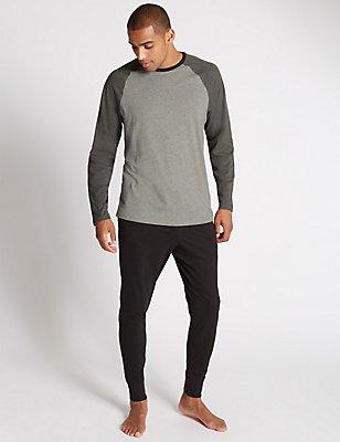 2in Longer Pure Cotton Pyjamas, GREY MIX, catlanding