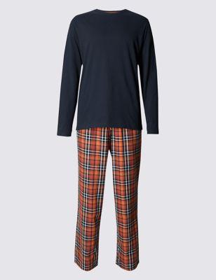 Пижамный комплект из чистого хлопка: футболка Navy с длинным рукавом и брюки в клетку M&S Collection T073057