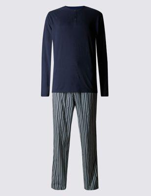 Пижамный комплект из чистого хлопка StaySoft™: принтованные брюки и топ с длинным рукавом