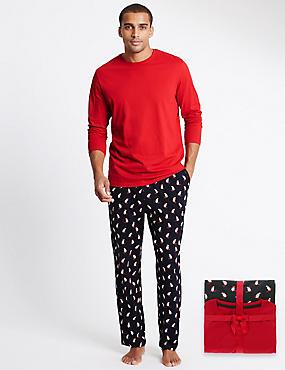 Pure Cotton Xmas Polar Bear Pyjamas, NAVY MIX, catlanding