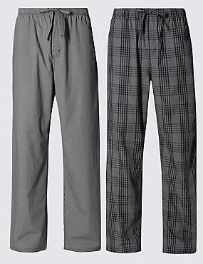 2 Pack Pure Cotton Checked  Pyjama Bottoms, GREY MIX, catlanding