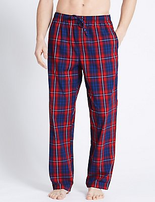 2 Pack Checked Pyjama Bottoms, RED MIX, catlanding