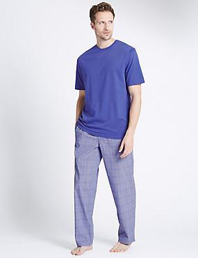 Pure Cotton Checked Pyjamas, BLUE MIX, catlanding