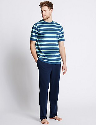 2in Longer Pure Cotton Striped Pyjamas, DENIM MIX, catlanding