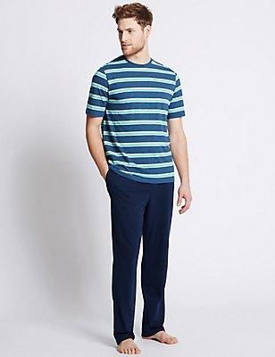 Pure Cotton Striped Pyjamas, DENIM MIX, catlanding