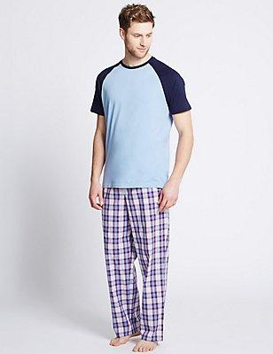 2in Longer Pure Cotton Checked Pyjamas, PURPLE MIX, catlanding