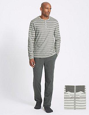 Pure Cotton Striped Pyjama Set, GREY MIX, catlanding
