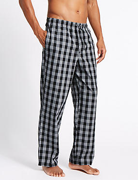 2 Pack Checked Pyjama Bottoms, BLACK MIX, catlanding