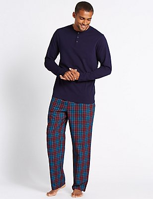 Pure Cotton Checked Pyjamas, BERRY, catlanding