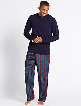 Pure Cotton Checked Pyjamas, BERRY, catlanding