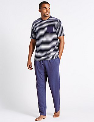 2in Longer Pure Cotton Striped Pyjamas, NAVY MIX, catlanding