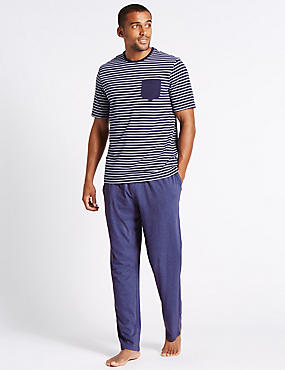 2in Longer Pure Cotton Striped Pyjama Set, NAVY MIX, catlanding
