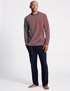 Pure Cotton Checked Pyjama Set, BURGUNDY MIX, catlanding