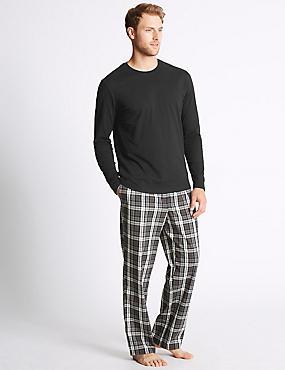 Pure Cotton Checked Pyjama Set, BLACK MIX, catlanding