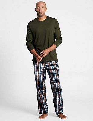 Pure Cotton Checked Pyjama Set, KHAKI MIX, catlanding