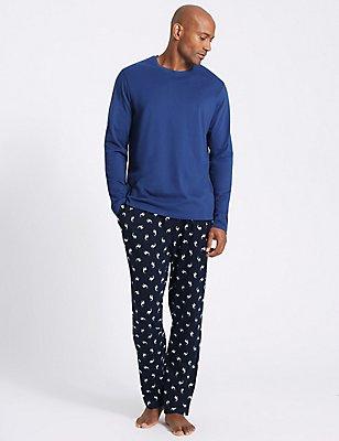 Pure Cotton Printed Pyjama Set, NAVY MIX, catlanding