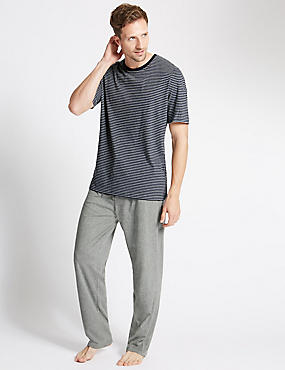 Pure Cotton Stay Soft Striped T-Shirt with Pyjamas, NAVY MIX, catlanding