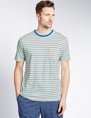 Pure Cotton Crew Neck Striped T-Shirt, WHITE MIX, catlanding