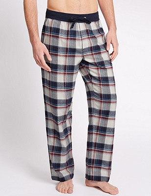 Brushed Cotton Checked Pyjama Bottoms, MID BLUE, catlanding