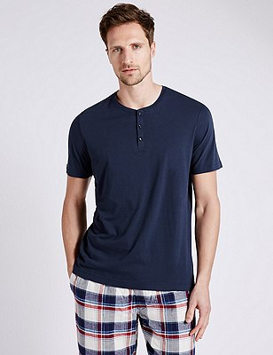 Supima® Cotton Henley Neck Pyjama Top, NAVY MIX, catlanding