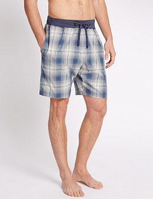 Pure Cotton Checked Pyjama Shorts, BLUE MIX, catlanding