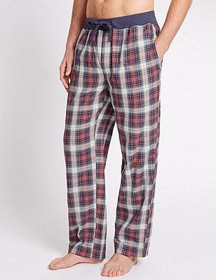 Pure Cotton Checked Pyjama Bottoms, RED MIX, catlanding