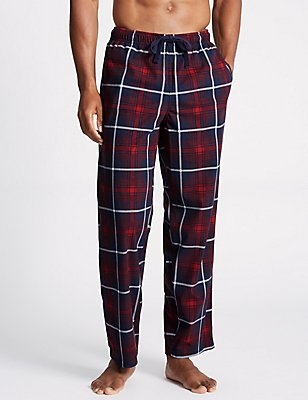 Supersoft Checked Pyjama Bottoms, RED MIX, catlanding
