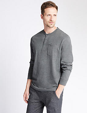 Pure Cotton Stay Soft Henley Neck Pyjama Top, GREY, catlanding