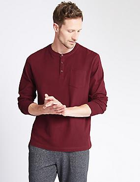Pure Cotton Stay Soft Henley Neck Pyjama Top, BURGUNDY, catlanding