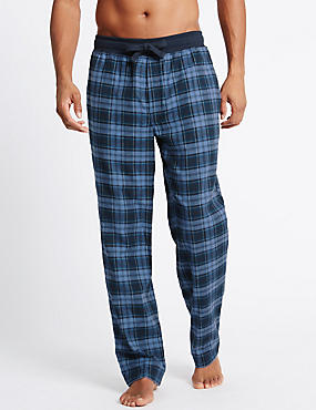 Pure Cotton Checked Pyjama Bottoms, NAVY MIX, catlanding