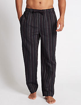 Pure Cotton Stay Soft Striped  Pyjama Bottoms, NAVY MIX, catlanding