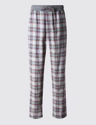 Ультрамягкие пижамные брюки из чистого хлопка в клетку