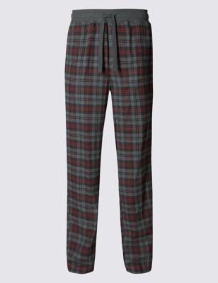 Пижамные брюки из чистого хлопка в классическую клетку