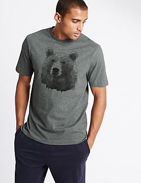 Super Soft  Bear Print Pyjama Top, GREY MARL, catlanding