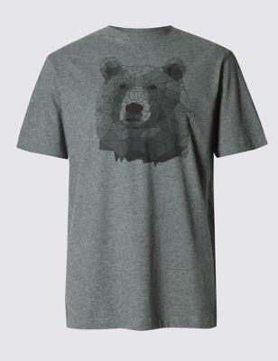 Пижамная футболка из чистого хлопка с призма-принтом