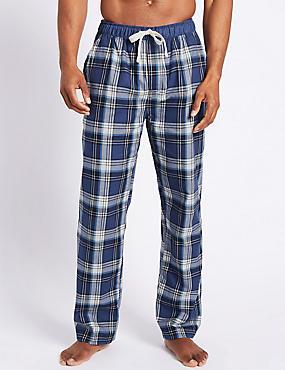 Pure Cotton Checked Long Pyjama Bottoms, BLUE MIX, catlanding