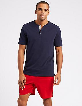 Pure Cotton Pyjama Top, NAVY, catlanding