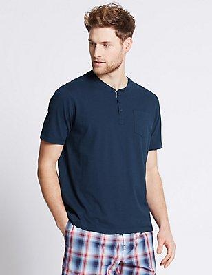 2in Longer Pure Cotton Pyjama Top, NAVY, catlanding
