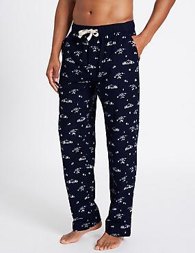 Pure Cotton Printed Long Pyjama Bottoms, NAVY MIX, catlanding