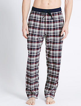 Brushed Cotton Checked Long Pant , ECRU MIX, catlanding