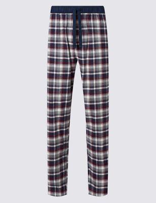 Байковые пижамные брюки в крупную клетку M&S Collection T073980