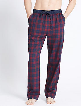 Pure Cotton Checked Long Pyjama Bottom, BURGUNDY MIX, catlanding