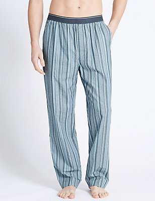 Pure Cotton Striped Long Pyjama Bottoms, BLUE MIX, catlanding