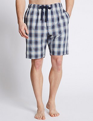Pure Cotton Checked Pyjama Shorts, BLUE/GREY, catlanding